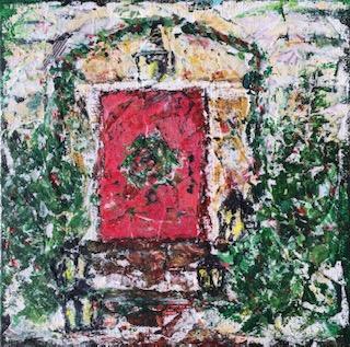 "Lynne Forrester, Artist: Lanterns Door (mixed media painting on canvas board, 20x20cm/8""x8"")"
