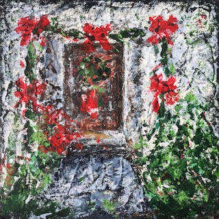 """Lynne Forrester, Artist: Red Bow Door (mixed media painting on canvas board, 20x20cm/8""""x8"""")"""