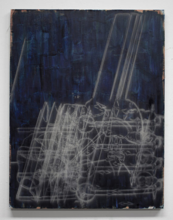 Ed Compson, 2 parasympathetic system, 2020, Oil and Laser on Linen, 90 x 70 cm