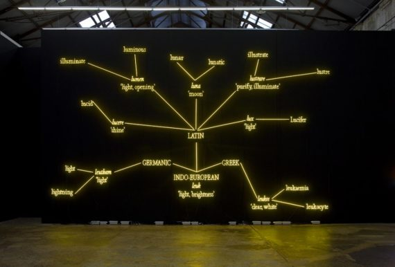 Kosuth. J, W.T.F #1 (2008) yellow neon mounted directly to the wall [Available online]