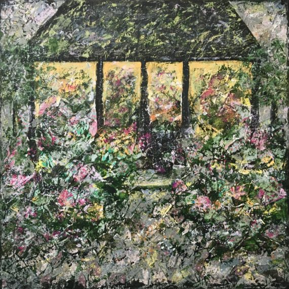 Lynne Forrester, Artist: Pavilion of Blooms (mixed media painting on canvas)