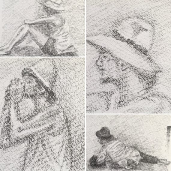 Lynne Forrester, Artist: Life Drawings inspired by Seurat's 'Bathers at Asnieres'