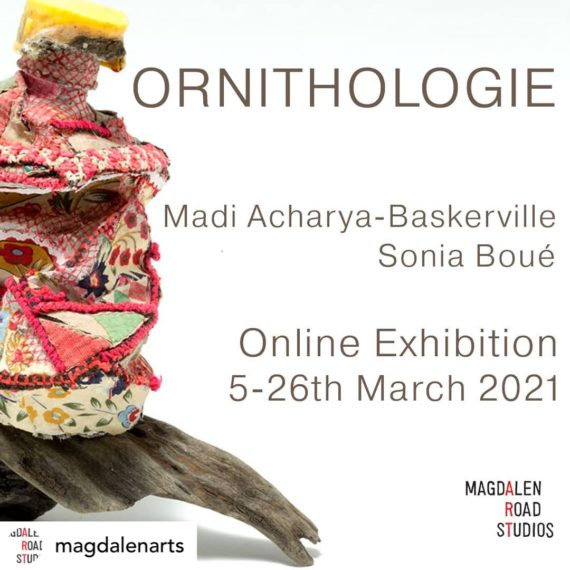 An exhibition flyer with text and an image of a colourful sculpture made from wood, textiles and plastic bottles.