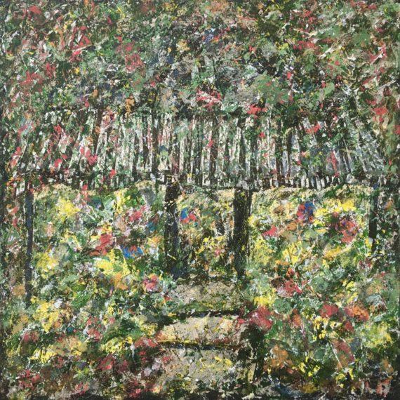 Lynne Forrester, Artist: Unruly Ruffling (mixed media on canvas)