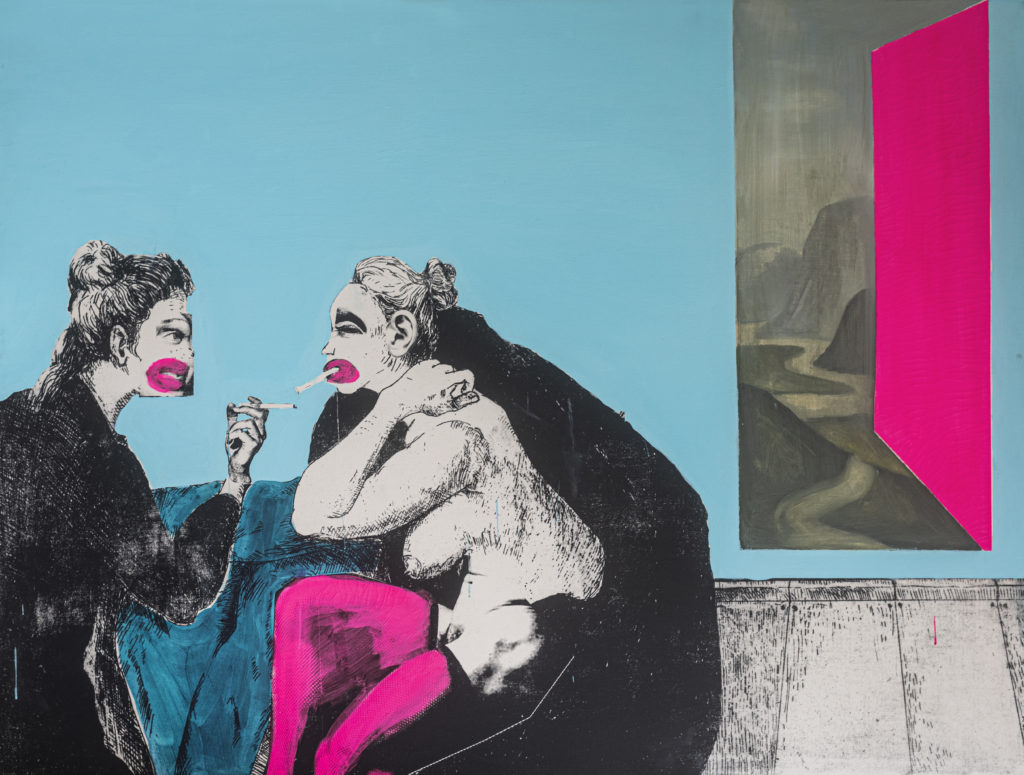 Two figures seated on a sofa are smoking cigarettes. One figure is naked apart from a dark cloak and a pair of pink stockings. A doorway in the blue wall behind them leads to a mountainous landscape.