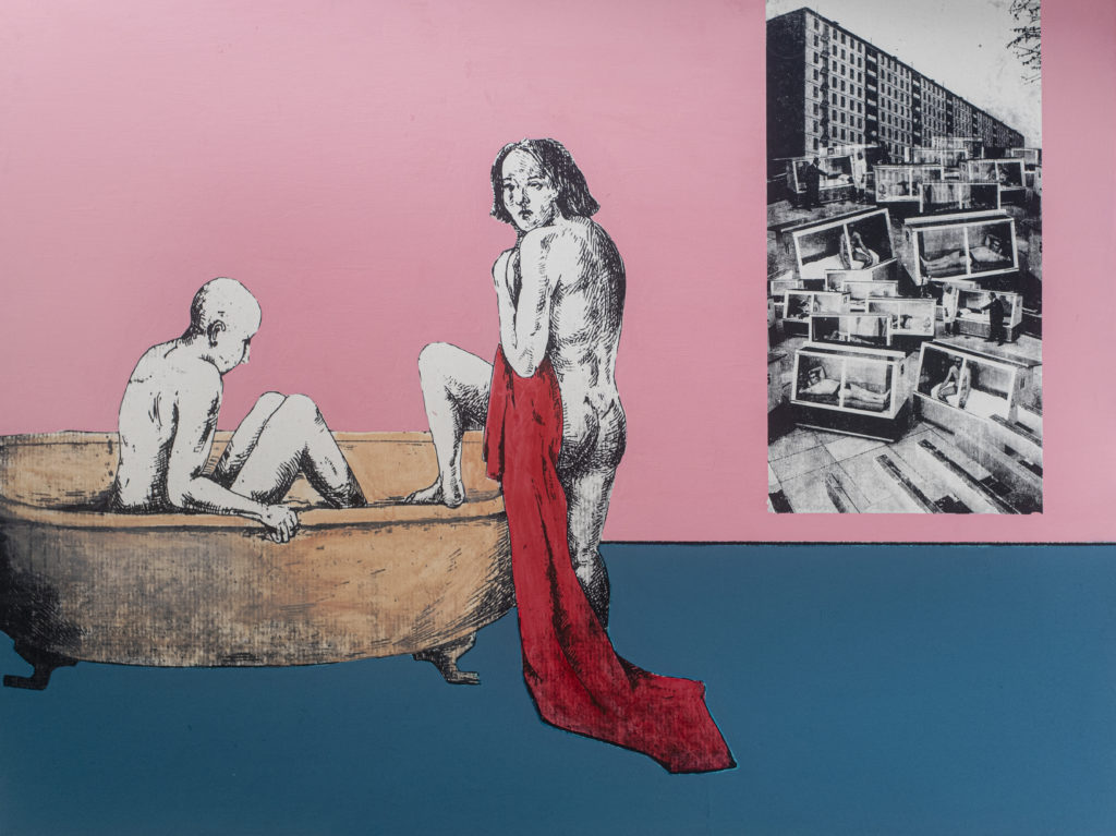 A naked figure sits in a free-standing bath tub. Another figure draped in a red towel is about to step into the bath. A doorway in the pink wall behind them leads to a dystopian townscape where many figures appear to be trapped in glass cases.