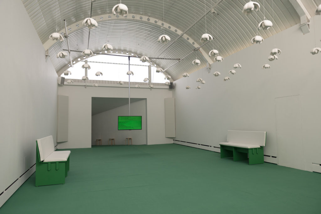 Installation view of a multimedia art work. In a large space with a green floor, many sculpted ackee fruit forms hang down from the ceiling. A TV screen with a text-based work hangs from the ceiling towards the back of the space. The text is too far away to be legible.