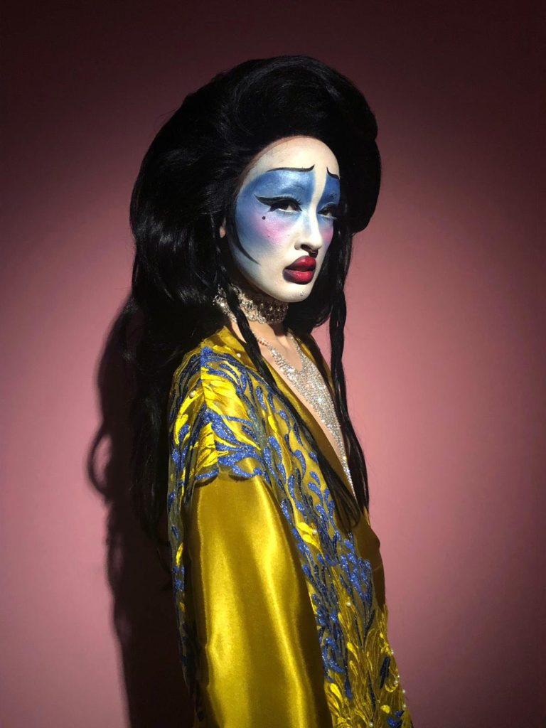 Portrait of a figure dressed as a character from the Taiwanese or Chinese opera.