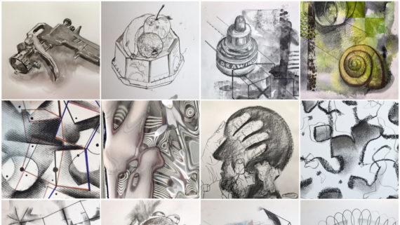 A grid of thumbnails of drawings made by Simon Fell during the 100dayproject2021 The project consists of a loose commitment to make one item a day for 100 consecutive days