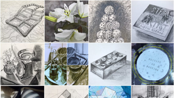 Thumbnail pictures of drawings by Simon Fell made for #30works30days - a @12øcollective project in 2021. The project involves a commitment to respond with an artwork each day to a given project brief for 30 days