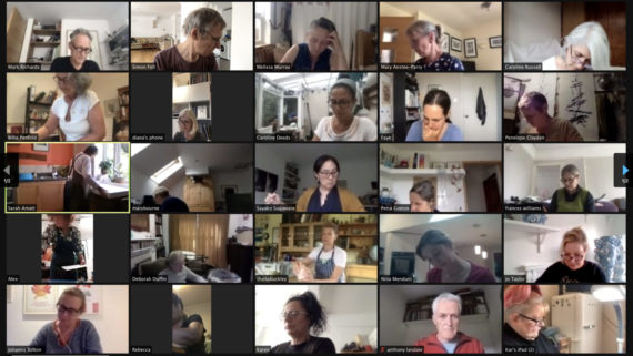A grid of five rows of five thumbnail images on a black background of a Screenshot of an online drawing session with @sculptorsdrawingspace showing 25 of the participants from around the world busy drawing for one hour together.