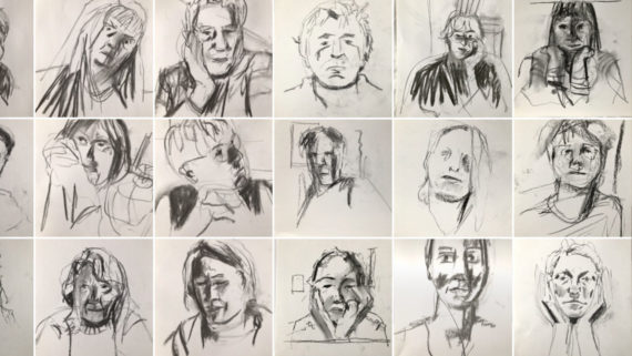 An array of charcoal portrait drawings by Simon Fell. There are 5 and a half drawings shown in each of 3 rows arranged in a grid