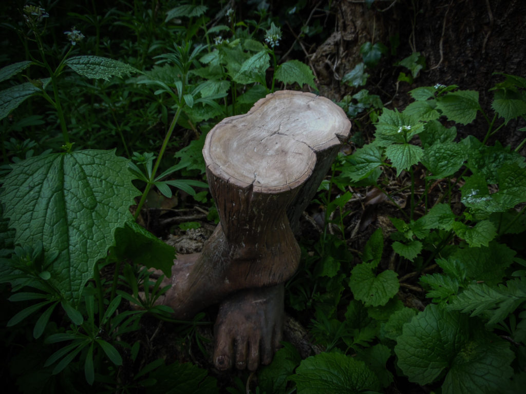 Sculpture of two human feet that take the form of a tree stump.