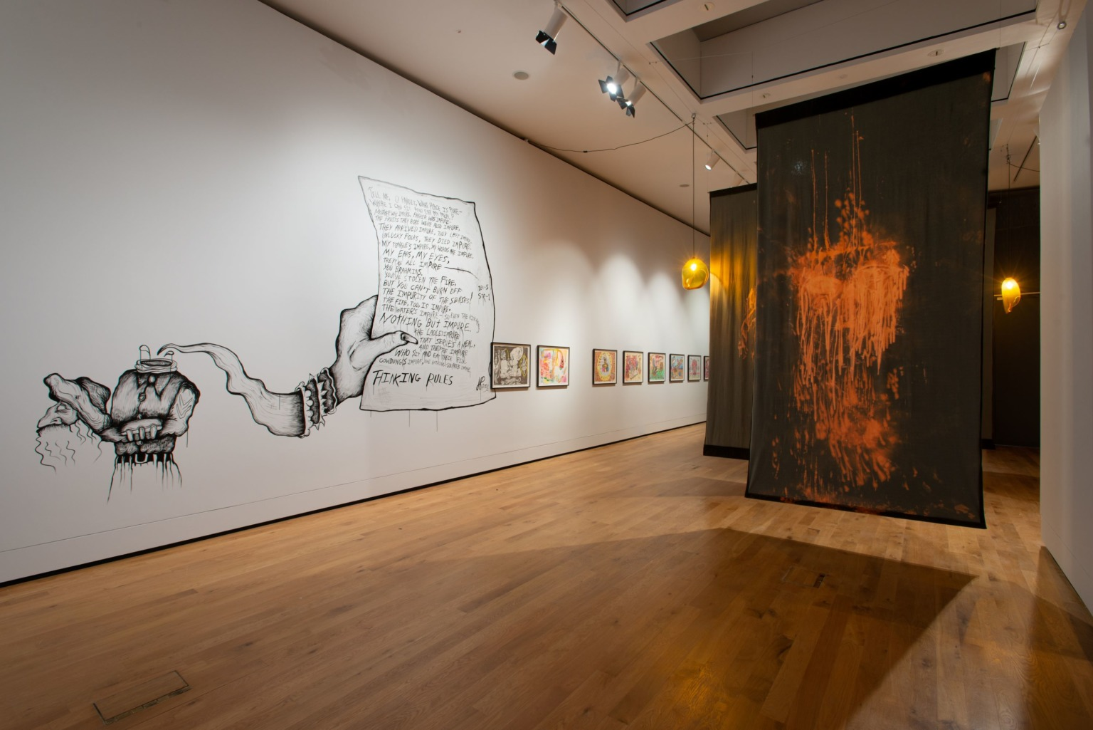 Installation view of British Art Show 9 at Aberdeen Art Gallery with artworks by Hardeep Pandhal and Paul Maheke