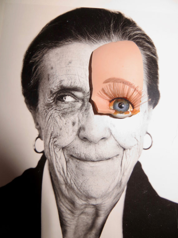 Collage that includes a black and white photographic portrait of the artist Louise Bourgeois in old age. The eye and part of the forehead of a plastic doll has been place over the right eye and part of the forehead of the photograph.