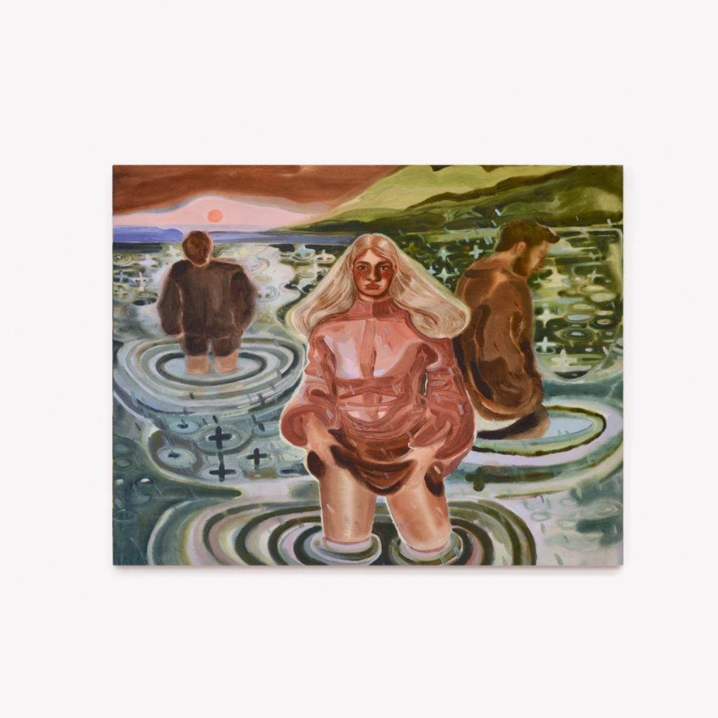 Painting of 3 figures standing in a lake.