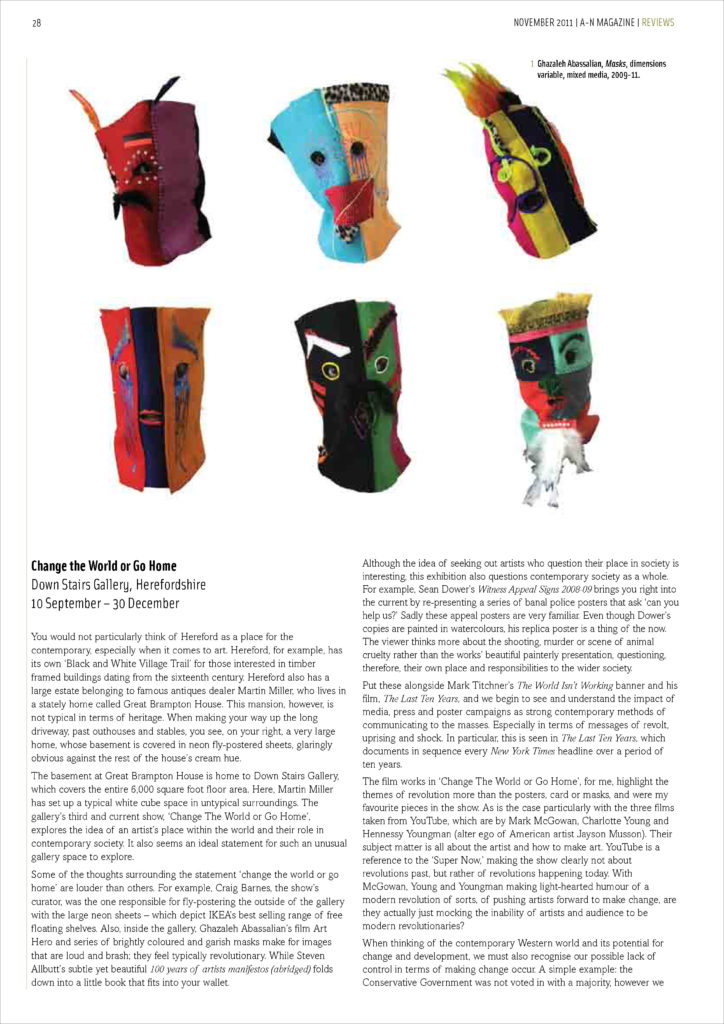 Page from a-n Magazine, November 2011.