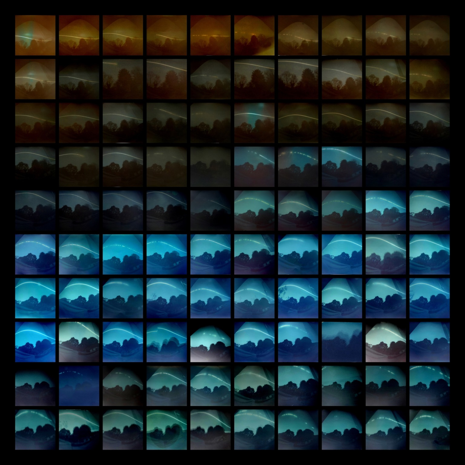 Multiple rows of square photographs of the sky of a period of time