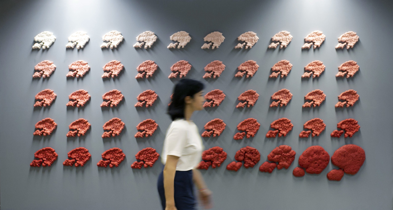 Five rows of circular sculptural forms.