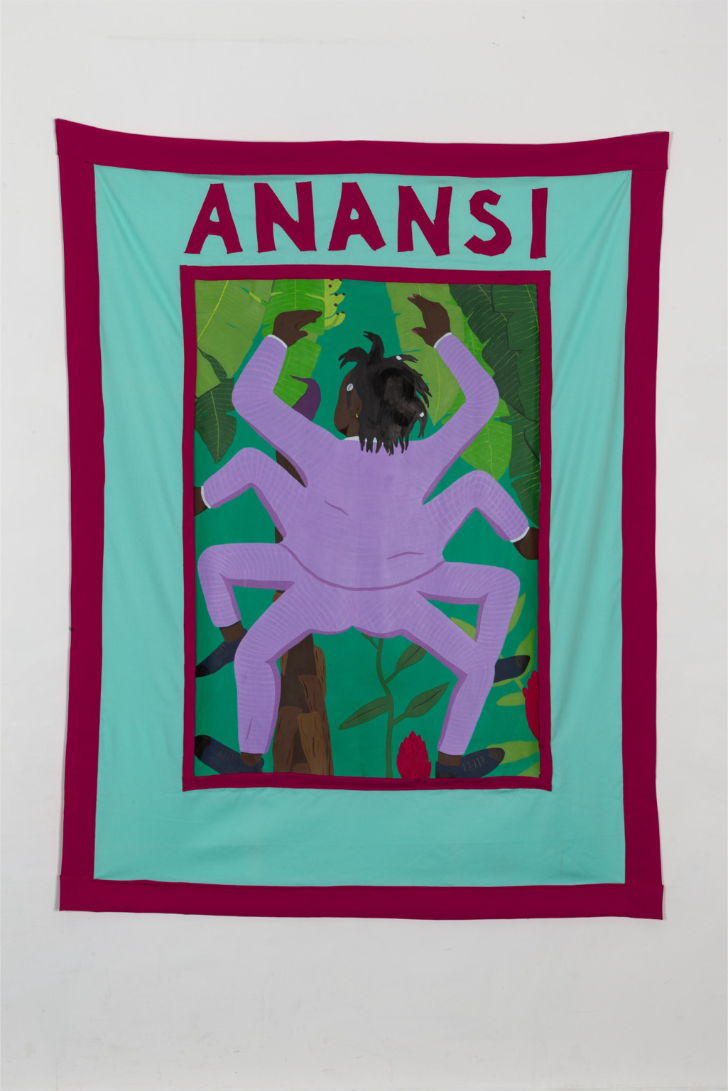 Painting of a Black figure with eight limbs in a lilac suit, with banana trees behind them. The painting is framed by a larger green textile with ANANSI written in red fabric at the top.