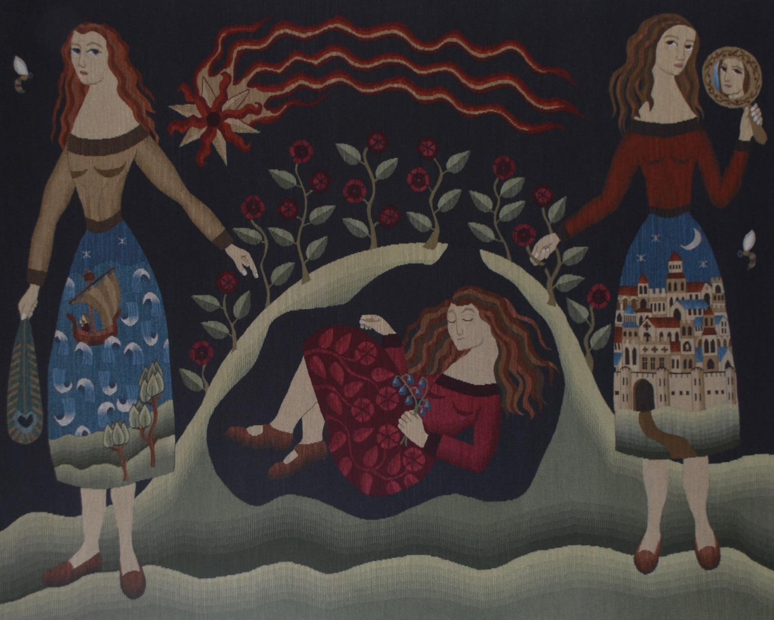 Textile showing two women standing either side of a bulging piece of flower-covered ground, inside which is a woman in a foetal position.