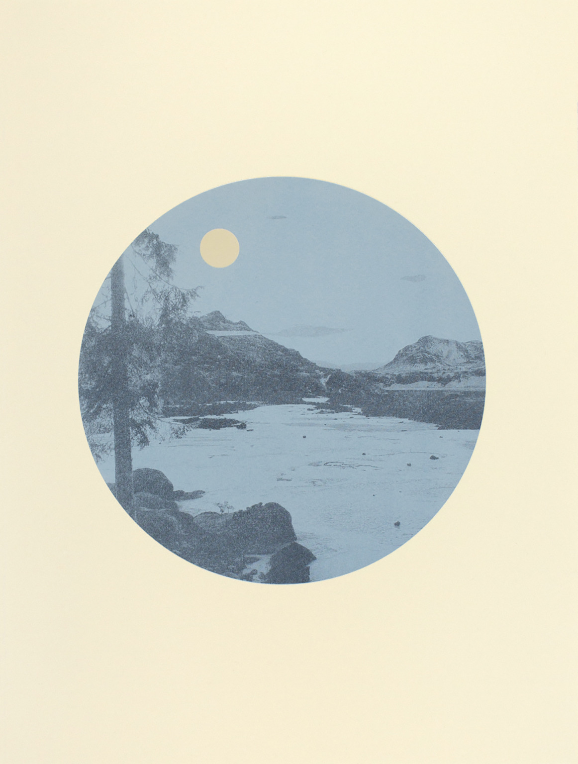 Pale blue and grey circular print of a snowy landscape with a pale yellow sun or moon in the sky.