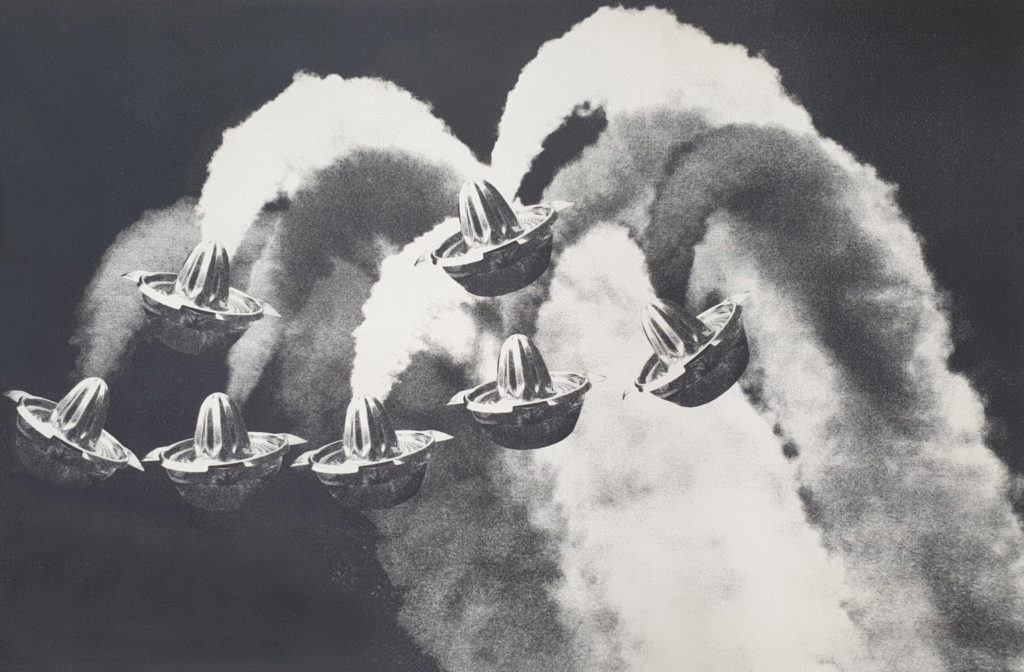 Seven lemon squeezers flying through the air and trailed by aircraft exhaust plumes